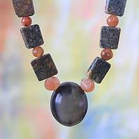 Agate and soapstone pendant necklace, 'Beginning of Wisdom' - Agate and soapstone pendant necklace