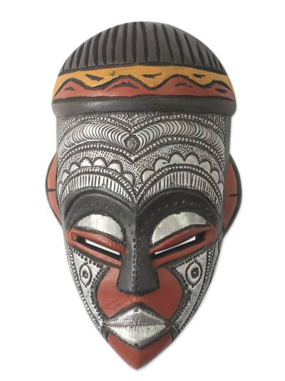 African wood mask, 'Daimuwa III' - Hand Carved African Wood Mask with Embossed Aluminum