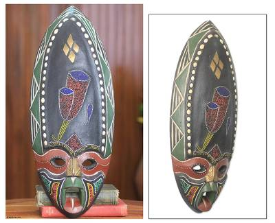 African beaded wood mask, 'Ifunanya' - African Beaded Wood Love Mask Original Artisan Design