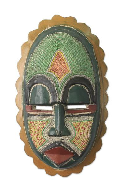 African wood mask, 'Zurufi' - African Mask Hand Carved Wood Recycled Beads
