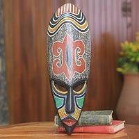 African wood mask, 'Hye Wonnye I' - African Beaded Wood Mask with Adinkra Symbol of Forgiveness