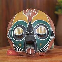 African wood mask, 'Ogya' - African Festive Fire Mask Carved by Hand in Ghana