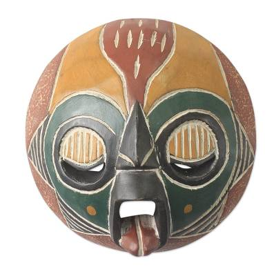 African Festive Fire Mask Carved by Hand in Ghana