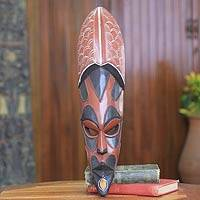 African wood mask, 'Hogbeza' - African Mask Hand Crafted with Wood and Copper