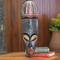 African wood mask, 'Haske' - Original African Wood Mask Carved by Hand