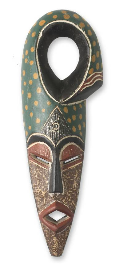 African wood mask, 'Harvest Chief II' - Handcrafted African Wood Mask Nigerian Harvest