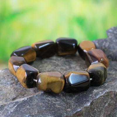 Tiger's eye beaded stretch bracelets, 'Esombo Kese' - Tiger's eye beaded stretch bracelets