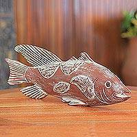 Wood sculpture, 'African Antele Fish' - African Game Fish Sculpture