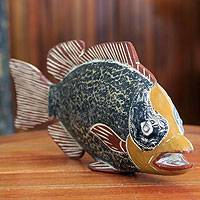 Wood sculpture, 'African Odaa Fish' - Artisan Crafted African Fish Sculpture