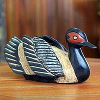 Wood sculpture, 'Black African Duck'
