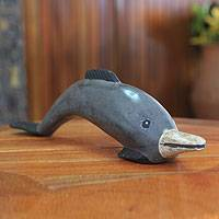 Wood sculpture, 'African Dolphin' - Hand Carved Wood Dolphin Statue