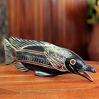 Wood sculpture, 'African Onyakele Fish' - Hand Made African Wood Fish Sculpture