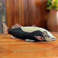 Wood sculpture, 'African Loodin Fish' - Hand Crafted African Black Fish Sculpture