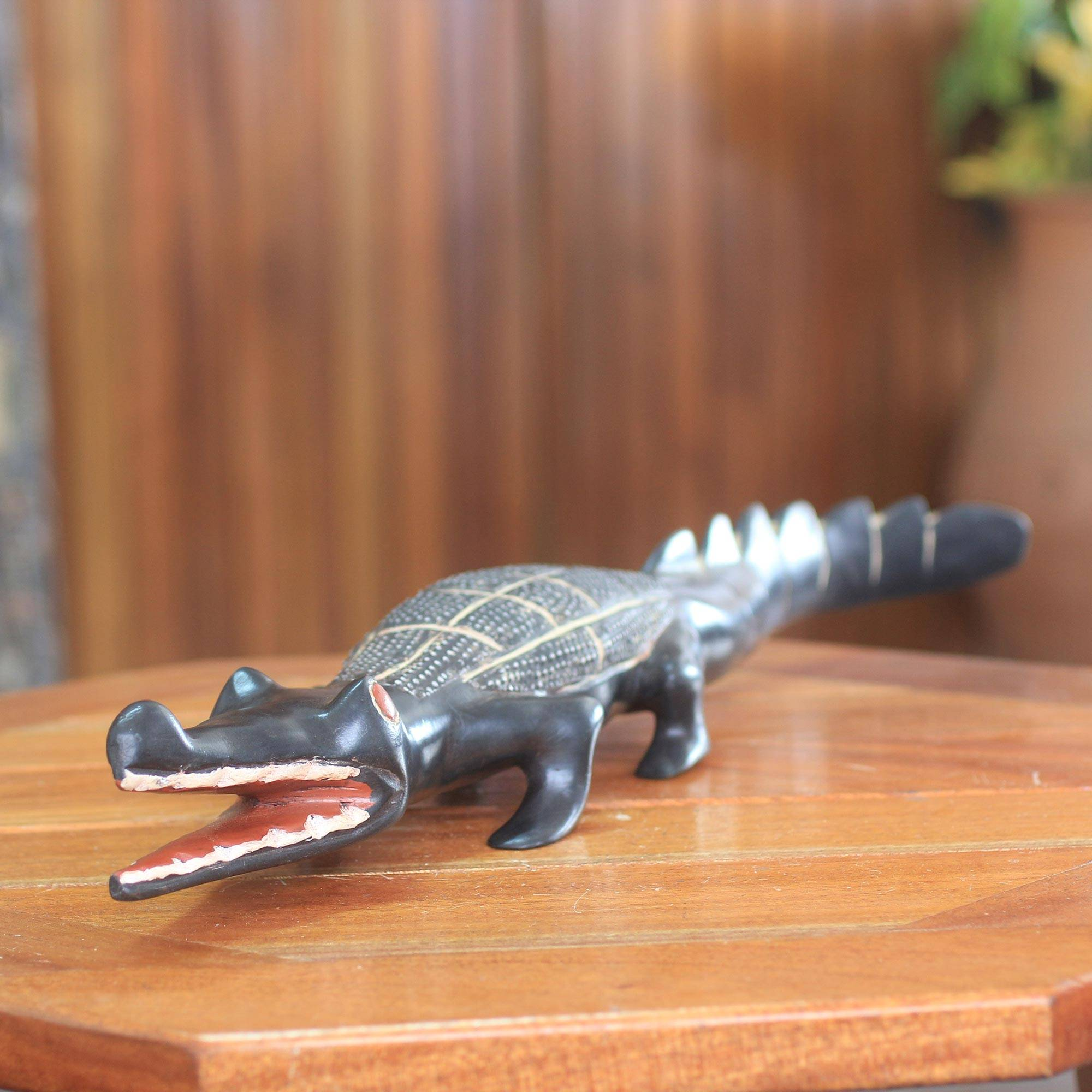 ECO- friendly gift Wooden Crocodile figurine table decor hand carved modern sculpture collectable toy sculptures Gift idea wood art