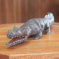 Wood sculpture, 'Benin Crocodile III' - African Hand Carved Wood Crocodile Sculpture