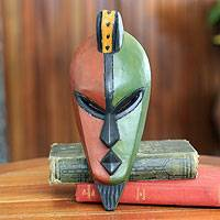 African mask, 'Desire for Peace' - Hand Carved and Painted African Mask from Ghana