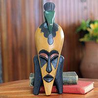 African mask, 'Bird Man' - Bird Theme African Mask from Ghana