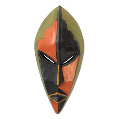 Africa mask, 'Handsome Ewe Elder' - Ghanaian African Mask in Bright Colors