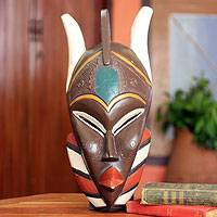 African wood mask, 'So' - Handcrafted African Wood Mask