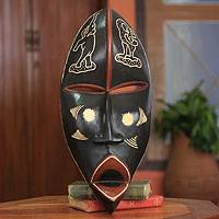 African wood mask, 'Nkabom' - Handcrafted African Mask