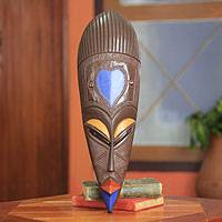 African wood mask, 'Akoma' - Blue Heart Mask Original Design from Ghana