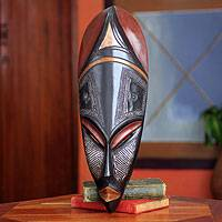 African wood mask, 'Obaapa' - Good Woman African Mask Crafted by Hand