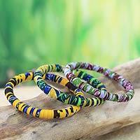 Cotton bangle bracelets, 'Katawodiesu in Green' - Handcrafted Cotton Bangle Bracelets (Set of 3)