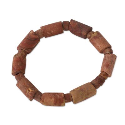Bauxite beaded bracelet, 'Nkabom Biako Ye' - Bauxite beaded bracelet