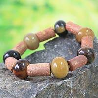 Horn and bauxite beaded bracelet, 'Enapa' - Horn and bauxite beaded bracelet
