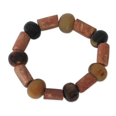 Horn and bauxite beaded bracelet, 'Enapa' - Horn and bauxite beaded bracelet
