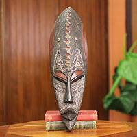 African wood mask, 'Royal Mask' - Original African Wood Mask with Embossed Aluminum