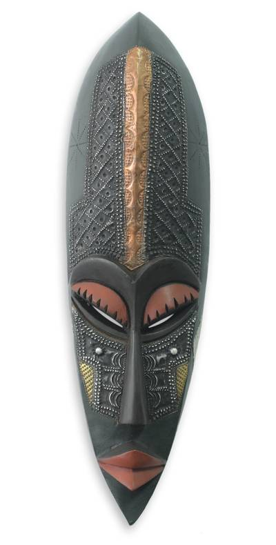 African wood mask, 'Ahoufe' - Hand Carved Wood Mask