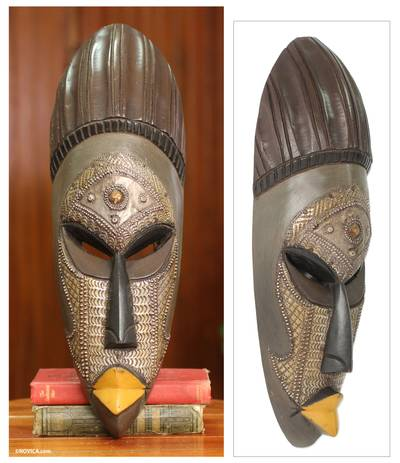 African mask, 'Akan Prince' - Hand Carved African Mask from Ghana