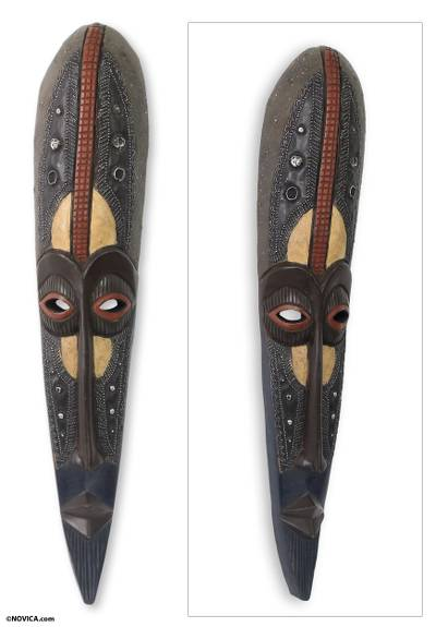 African wood mask, 'Agbeli' - African Mask Hand Carved Wood Aluminum