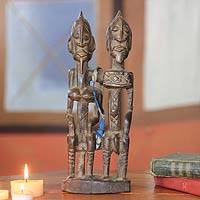 Wood sculpture, 'Dogon Royal Love' - Wood sculpture
