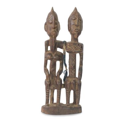 Wood sculpture, 'Dogon Royal Love' - Wood sculpture