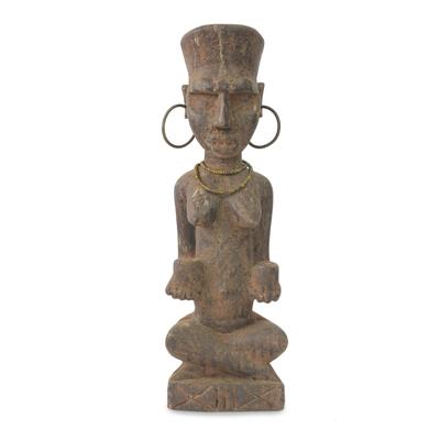 Wood sculpture, 'Healer' - African Wood Healer Woman Sculpture
