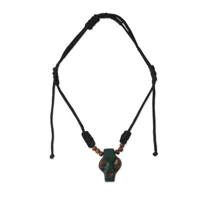 Men's wood pendant necklace, 'Papa Adam' - Men's wood pendant necklace