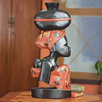 Wood wall sculpture, 'In Honor of Mothers' - African Wood Wall Sculpture