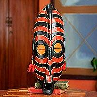 African wood mask, 'Safari' - Original African Wood Mask