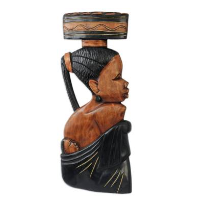 Hand Carved African Wood Wall Sculpture Honored Mother Novica