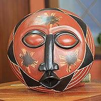 African wood mask, 'Happy Sun' - Original African Sun Mask