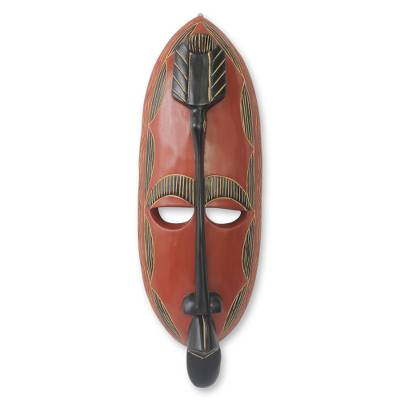 African wood mask, 'Royal Akan' - Hand Carved Wood African Mask