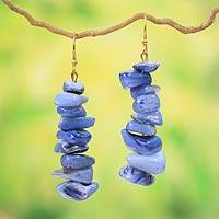 Beaded earrings, 'Bluebird' - Beaded earrings