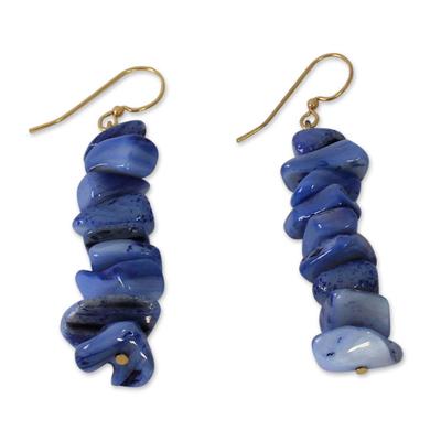 Beaded earrings, 'Bluebird' - Beaded earrings