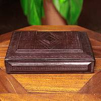 Wood and leather jewelry box, 'Royal Treasures' - Leather and Wood Lined Jewelry Box