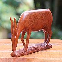 Teakwood sculpture, 'The Nature of Antelope' - Teakwood sculpture