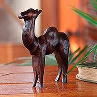 Teak sculpture, 'Camel of Purpose'
