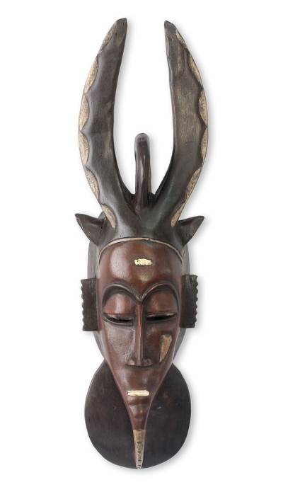 African mask, 'Guro Horned Protector' - Authentic African Mask
