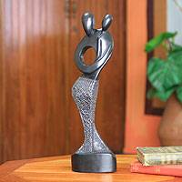 Wood sculpture, 'Joy of Motherhood' - Hand Carved African Wood Sculpture